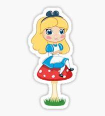 Alice in Wonderland Sitting on Mushroom Illustration Sticker