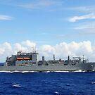 Ein MH-60S Sea Hawk bereitet sich darauf vor, eine Palette von Vorräten auf USNS Charles Drew abzuwerfen. von StocktrekImages