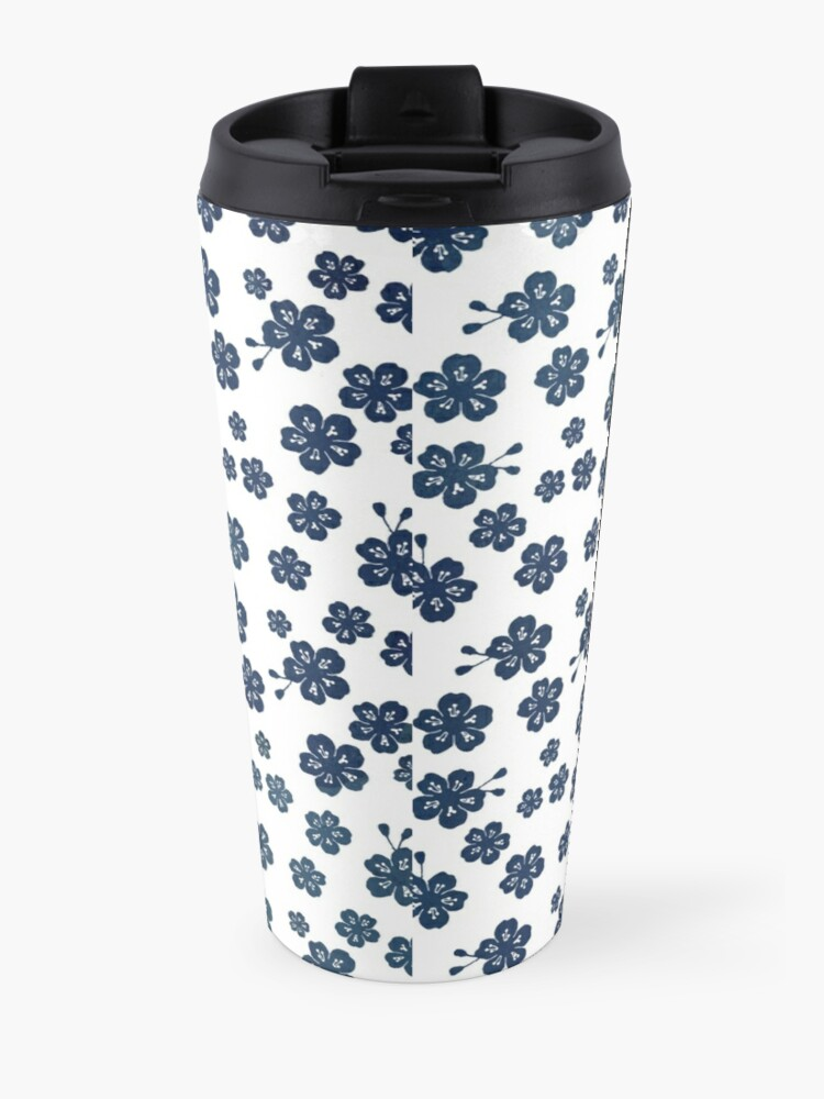 Alternate view of Navy blue scattered cherry blossom Travel Mug