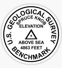 Spruce Knob, West Virginia USGS Style Benchmark Sticker