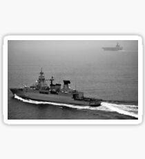 German navy frigate FGS Hessen cruises alongside USS Harry S. Truman. Sticker