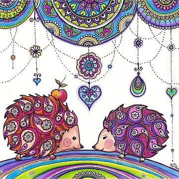 Hedgehogs Drawing Illustration Original art by DhanaART