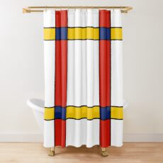 Mondrian Style Abstract Art Shower Curtain