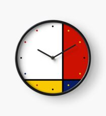 Mondrian Style Abstract Art Clock
