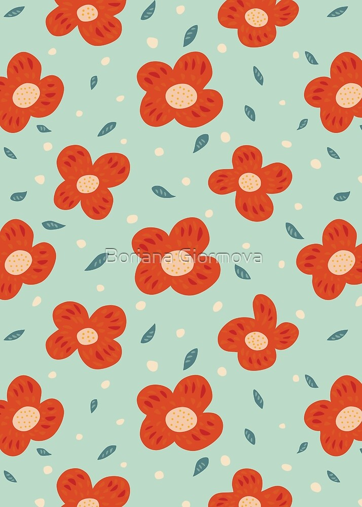 Simple Pretty Orange Flowers Pattern by Boriana Giormova