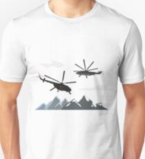 Black helicopters in the mountains T-Shirt