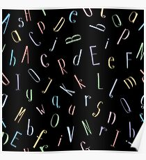 Colorful Alphabet Letters Seamless Pattern Poster