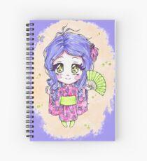 Chibi girl wearing a pink yukata Spiral Notebook