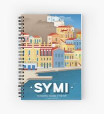 Colorful facades at the port, Symi (GR) Spiral Notebook