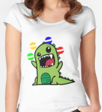 funny juggling dinosaur t-shirt for boys and girls Women's Fitted Scoop T-Shirt