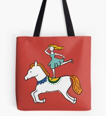 Retro Circus with Strong Man, Seals, Horse Rider and Clowns Tote Bag