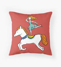 Retro Circus with Strong Man, Seals, Horse Rider and Clowns Throw Pillow