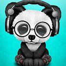 Tragende Kopfhörer des blauen Baby-Panda Dj von jeff bartels
