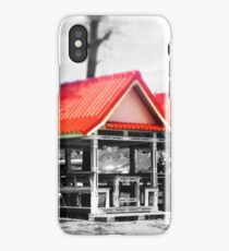 Beach Huts on Black and White iPhone Case/Skin