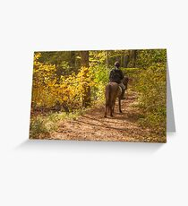 Autumn horseback riding in woods Greeting Card