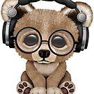 Blauer Baby-Bär DJ Wearing Headphones von jeff bartels