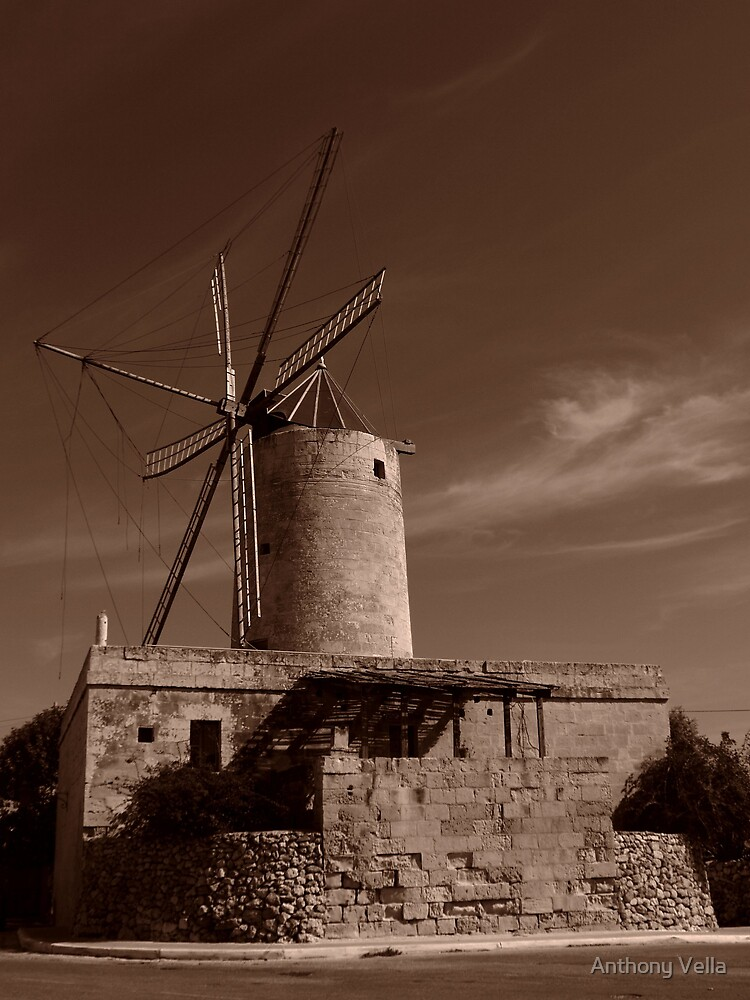 Kola's (Nick's) Windmill at Xaghra, Gozo by Anthony Vella