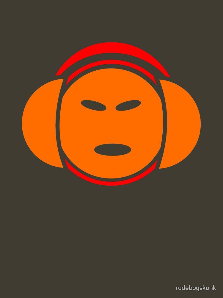 Headphone Idol (orange print) by rudeboyskunk