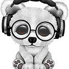 Tragende Kopfhörer des blauen Baby-Eisbär-DJ von jeff bartels