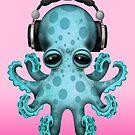 Tragende Kopfhörer des blaue Baby-Kraken-DJ von jeff bartels