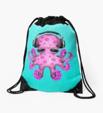 Pink Baby Octopus Dj Wearing Headphones Drawstring Bag