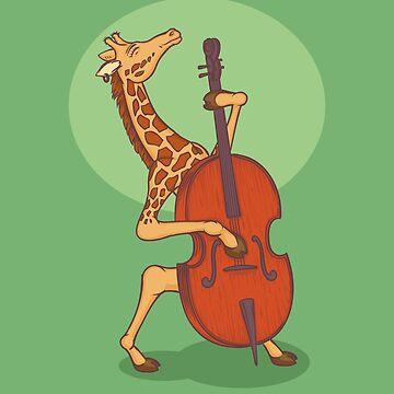Giraffe playing contrabass by deepfuze