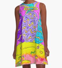 Psychedelic Project - Eggs - Dragon Eggs - Game Of Thrones - Rick and Morty poster style A-Line Dress