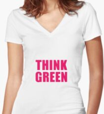 Think Green II Women's Fitted V-Neck T-Shirt