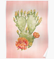 Cactus and Flowers on Blush Pink Background - Watercolour Painting Print by Magda Opoka Poster