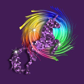 Sparkly Glittery Effect Purple Unicorn And Rainbow by Artification