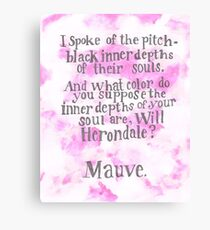 Will Herondale and Tessa Gray- Mauve Quote Canvas Print