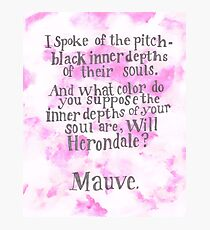 Will Herondale and Tessa Gray- Mauve Quote Photographic Print