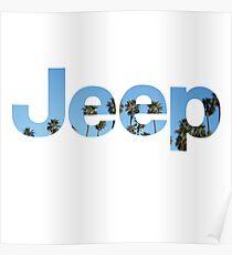 Jeep Palm Tree Sky Poster