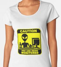 Caution! you are under monitor Women's Premium T-Shirt