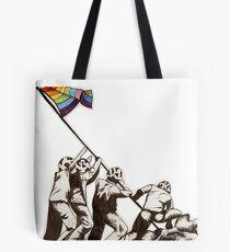 Iwo Jima LGBT Flag Raising Tote Bag
