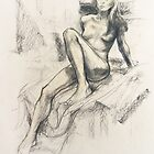 Female nude, charcoal & pastel by Roz McQuillan