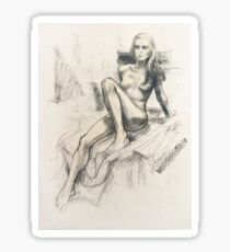 Female nude, charcoal & pastel Sticker