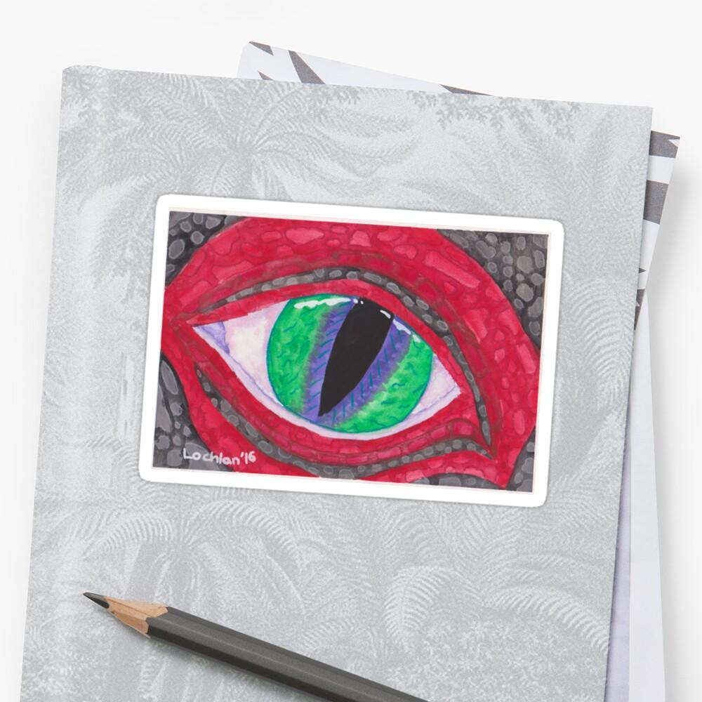 Red Grey Dragon Eye Stickers By Dragon Eye Art Redbubble