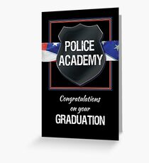 Police Academy Graduation Congratulations, Black with Flag Greeting Card