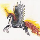 Pinto Flaming Winged Unicorn by Stephanie Small
