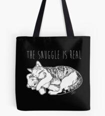 The Snuggle Is Real Cute Cat Illustration Dark Version Tote Bag