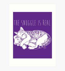 The Snuggle Is Real Cute Cat Illustration Dark Version Art Print