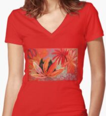 red jungle Women's Fitted V-Neck T-Shirt