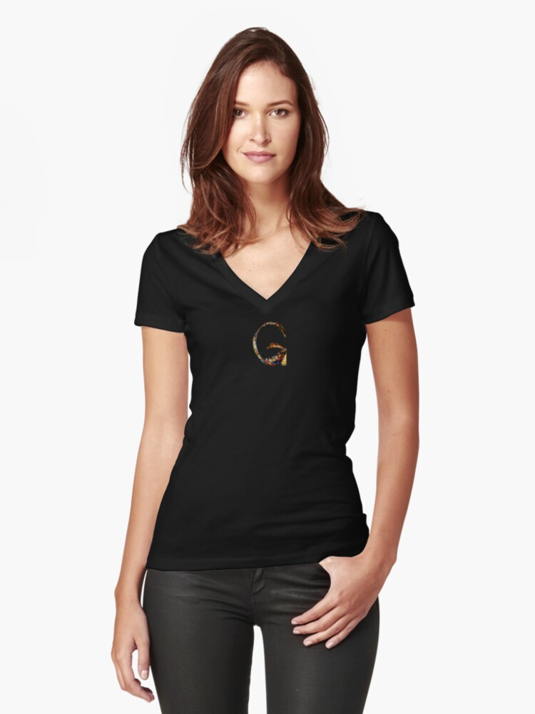 "ALPHABET - Stained Glass Letter ""G"" Women's Fitted V-Neck T-Shirt Front"