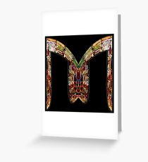 """ALPHABET - Stained Glass Letter """"M"""" Greeting Card"""