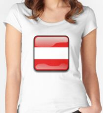 Austria Flag Icon Women's Fitted Scoop T-Shirt