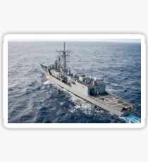 The guided-missile frigate USS Reuben James. Sticker