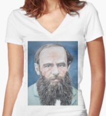 FYODOR DOSTOYEVSKY - oil portrait Women's Fitted V-Neck T-Shirt