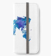 Aquarell Karte der Welt iPhone Flip-Case/Hülle/Klebefolie