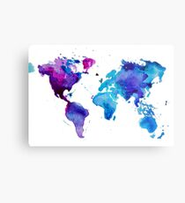 Watercolor Map of the World Metal Print
